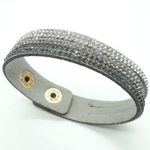 Gray Faux Leather Layered Bracelet with Crystals